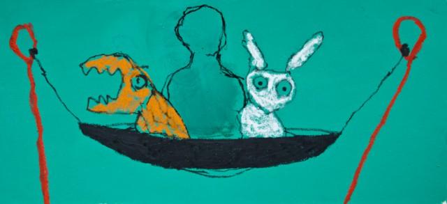 1, 2, 3 soleil, 2020 Acrylique, pastel et huile sur carton 25 x 55 cm, (collection privée) ©ROCHEGAUSSEN