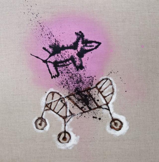 2020 II, 2020 Encre de chine et acrylique sur toile 57 x 57,5 cm, RG-20053 ©ROCHEGAUSSEN