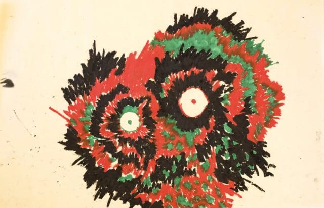 Koukouvagia, 2017 Huile et feutre sur papier japon 70 x 45 cm, RG-19140 ©ROCHEGAUSSEN
