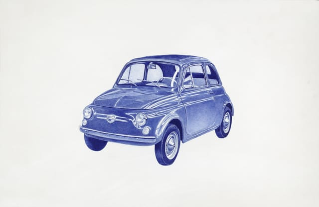 Auto, 2017 Dessin au stylo à bille bleu 32 x 50 cm, KO-1707 ©KONRAD