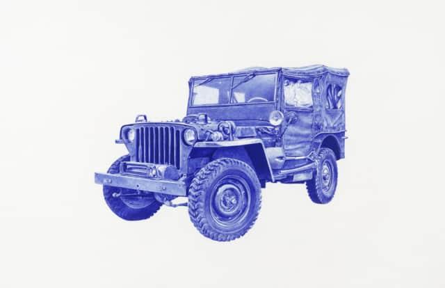 Jeep, 2016 Dessin au stylo à bille bleu 32 x 50 cm, KO-1633 ©KONRAD