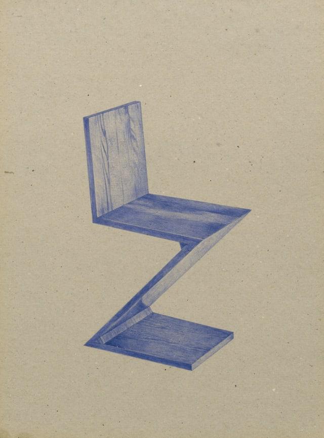 Chaise Zig-Zag (1933), Gerrit Rietveld, 2016 Dessin au stylo à bille bleu sur carton 40 x 30 cm, KO-1609 ©KONRAD