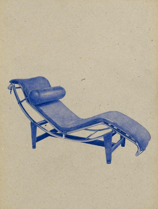 Chaise longue (1927) Le Corbusier, 2016 Dessin au stylo à bille bleu sur carton 40 x 30 cm, KO-1613 ©KONRAD