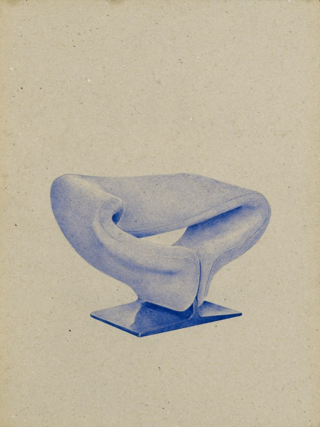 Fauteuil Ribbon (1965), Pierre Paulin, 2016 Dessin au stylo à bille bleu sur carton 40 x 30 cm, KO-1615 ©KONRAD