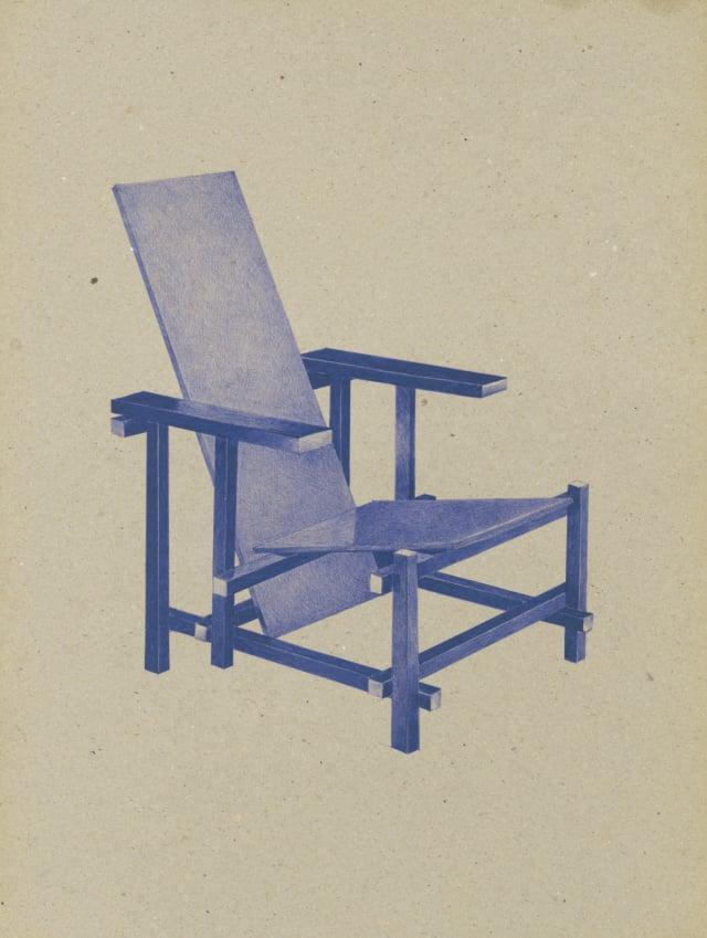 Red Blue Chair (1917-1923), Gerrit Rietveld, 2016 Dessin au stylo à bille bleu sur carton 40 x 30 cm, KO-1619 ©KONRAD