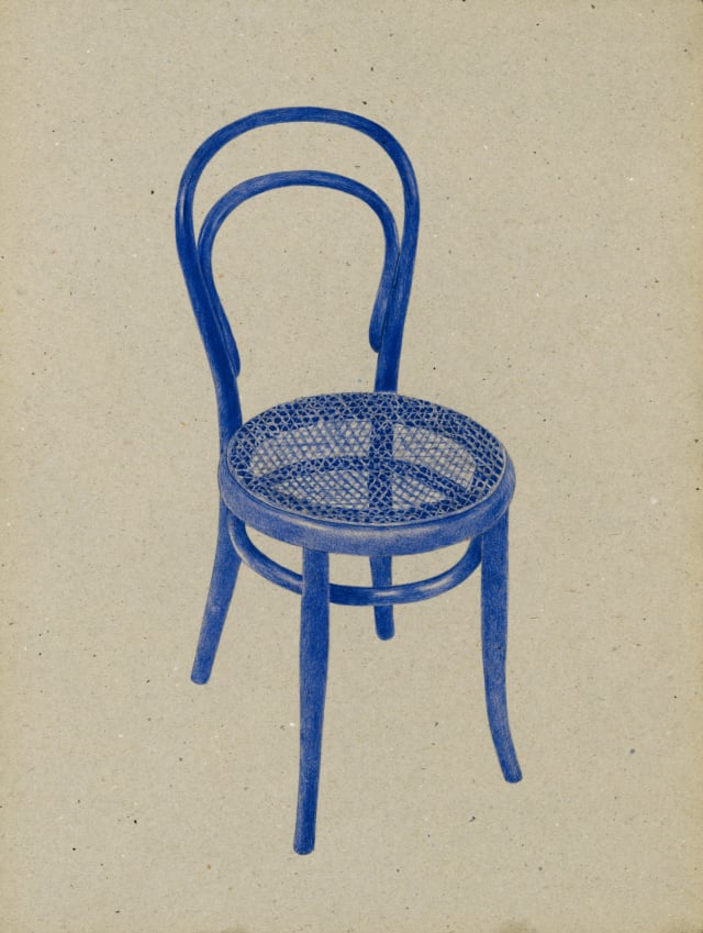 Chaise n°14 (1859), Michael Thonet, 2016 Dessin au stylo à bille bleu sur carton 40 x 30 cm, KO-1622 ©KONRAD