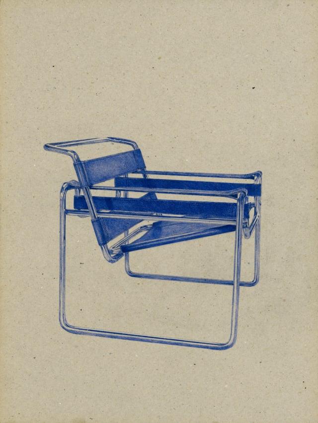 Chaise Wassily (B3) (1926), Marcel Breuer, 2016 Dessin au stylo à bille bleu sur carton 40 x 30 cm, KO-1625 ©KONRAD