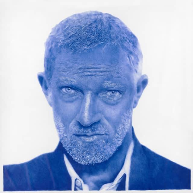 Vincent Cassel, 2016/2017 Dessin au stylo à bille bleu sur papier 150 x 150 cm, KO-1701 ©KONRAD (collection privée)