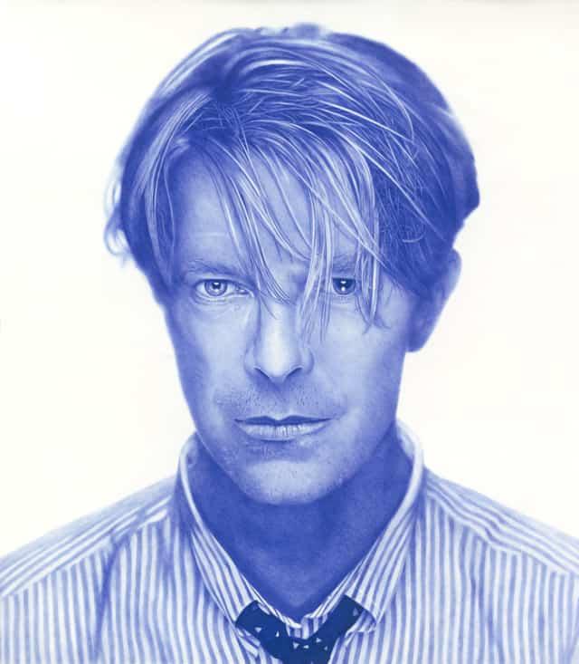 David Bowie, 2018 Dessin au stylo à bille bleu sur papier 150 x 150 cm, KO-1801 ©KONRAD (collection privée)