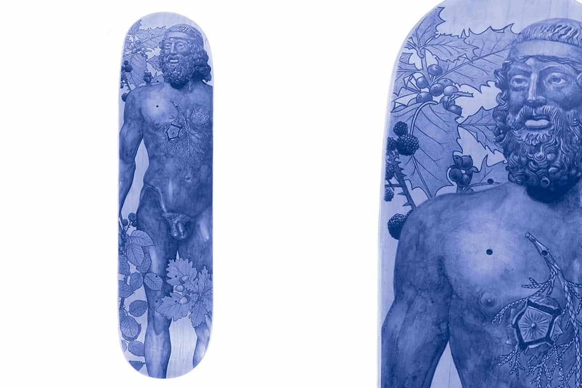 Riace le jeune, 2019 Dessin au stylo à bille sur bois, 82 x 21,5 x 0,5 cm, KO-1906 ©KONRAD