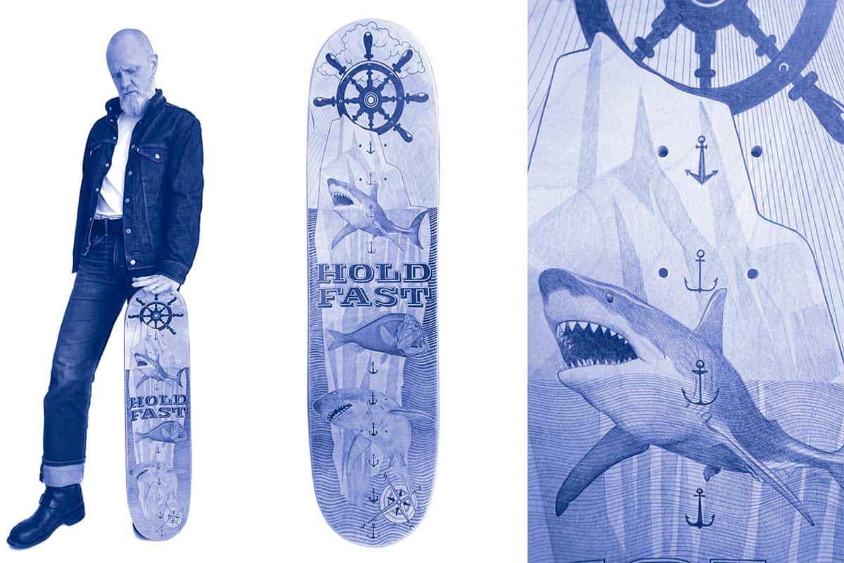 Hold Fast, 2020 Dessin au stylo à bille sur bois, 82 x 21,5 x 0,5 cm, KO-2006 ©KONRAD