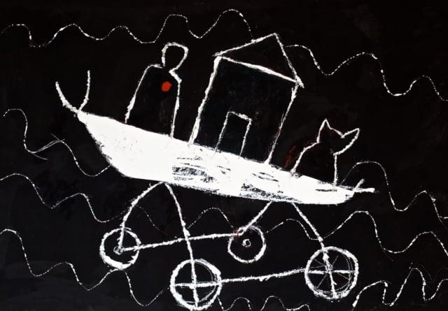 La pêche miraculeuse II, 2020 Acrylique et huile sur carton 81 x 120 cm, (collection privée) ©ROCHEGAUSSEN