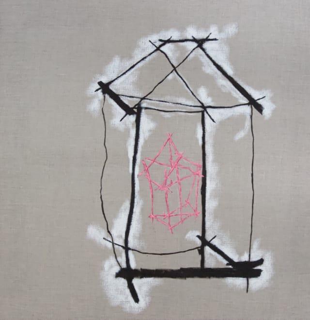 N'habite pas ta maison, 2020 Encre de chine et pastel sur toile 80 x 79,5 cm, RG-20082 ©ROCHEGAUSSEN (collection privée)