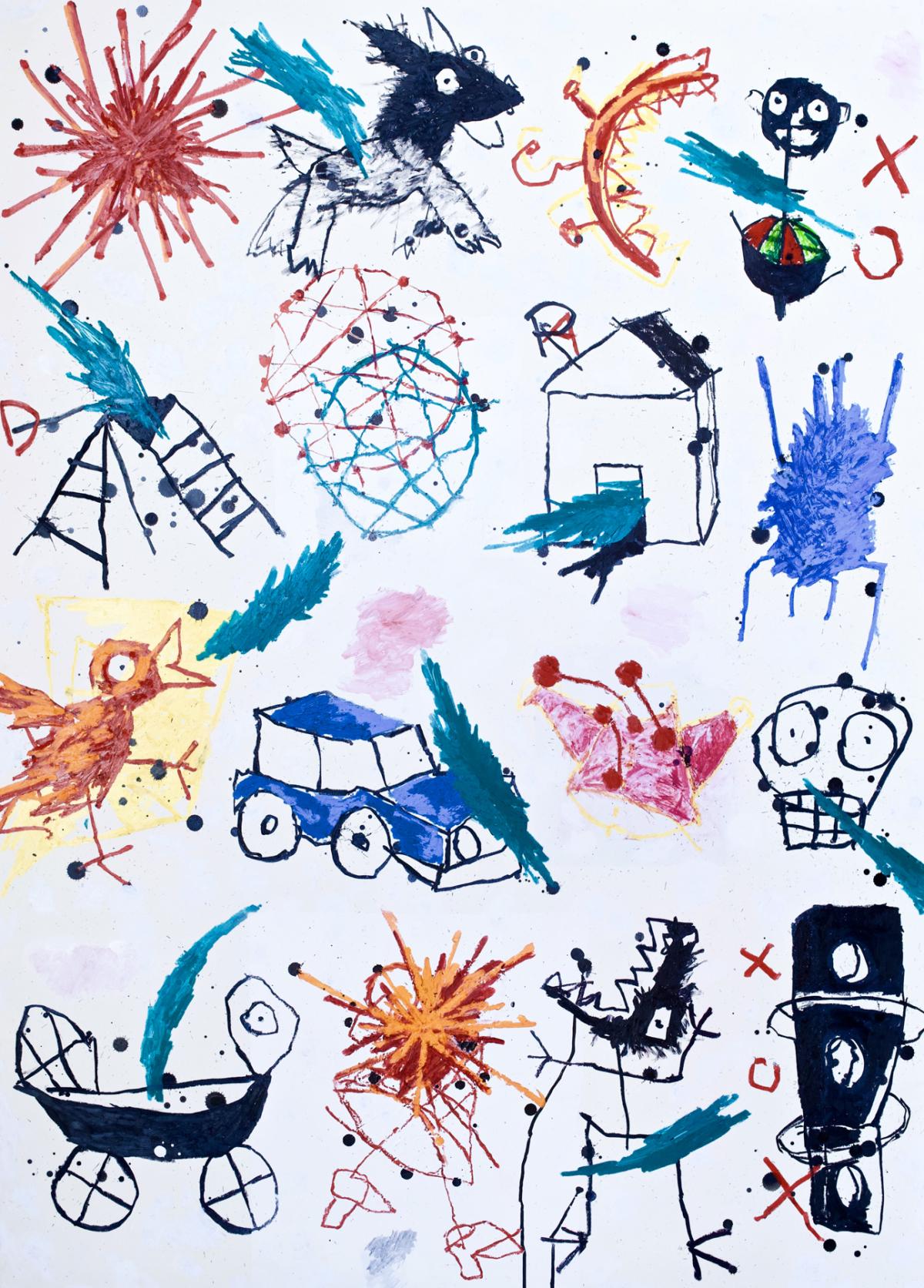 Place de l'étoile, 2020 Huile, pastel et encre de chine sur carton 140 x 100 cm, (collection privée) ©ROCHEGAUSSEN