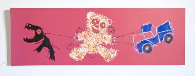 Rosebud, 2020 Craie, acrylique et craie sur toile 150 x 50 cm, (collection privée) ©ROCHEGAUSSEN