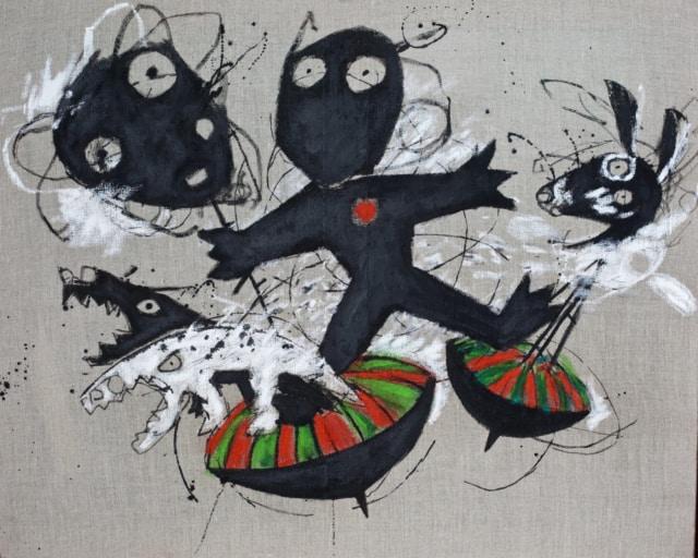 Sur le pont d'avignon, 2020 Huile, encre de chine et pastel sur toile 80 x 60 cm, RG-20032 ©ROCHEGAUSSEN
