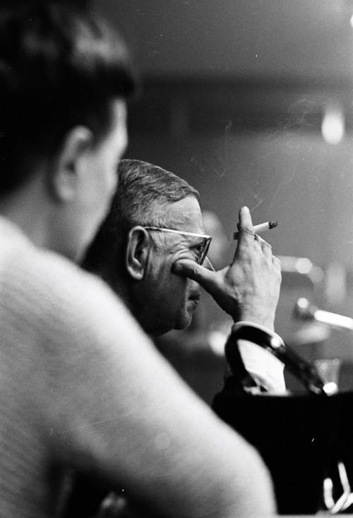 Jean-Paul Sartre et Simone de Beauvoir, maison de la mutualité, Paris, avril 1967, GC-01957-15A ©Fondation Gilles Caron
