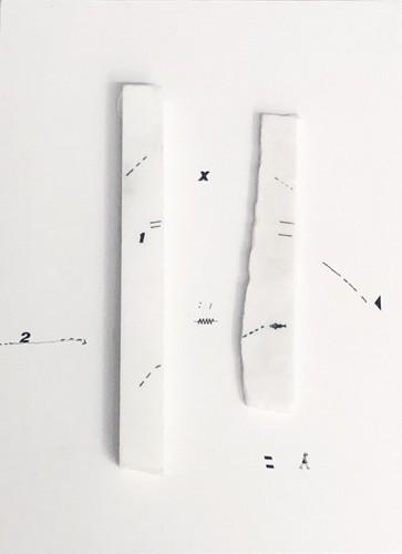 1, 2, X, 2017 Dessin sur marbre statuaire et papier encadrement boîte américaine, 46 x 66,5 x 6 cm (collection privée) ©Marie Orensanz