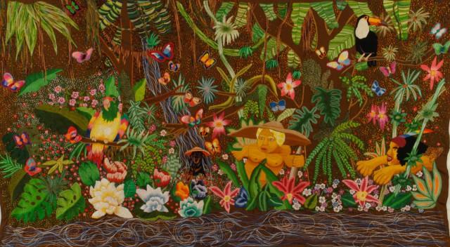 Pomberito y Yaguaraté, 2008 Broderie à la main, fil de coton, laine et rayon sur tissu, 290 x 165 cm ©CHIACHIO&GIANNONE