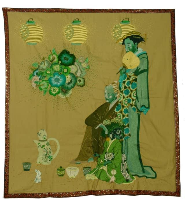 Hina Matsuri, 2011 Broderie à la main, fil de coton, fil à broder effet lumière et rayon sur tissu, 122 x 132 cm ©CHIACHIO&GIANNONE
