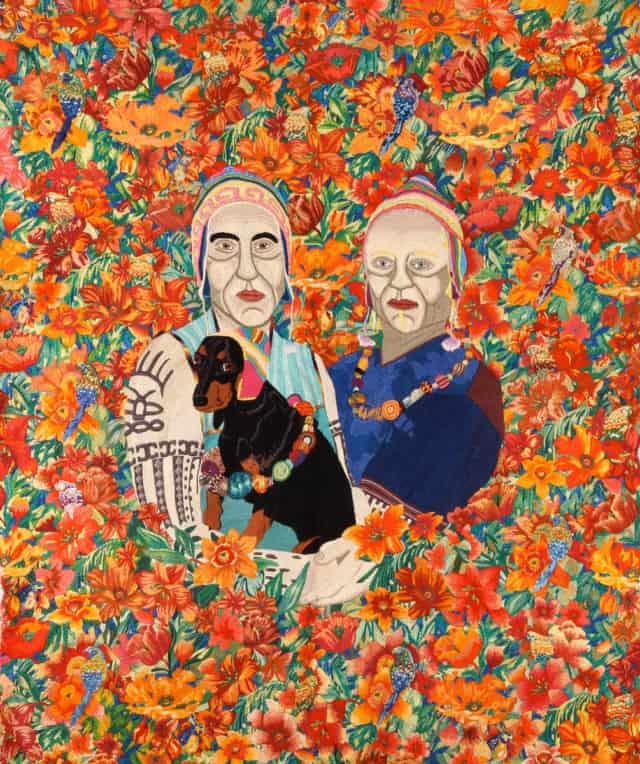 Familia Coyita, 2011/2012 Broderie à la main, fil de coton sur tissu, 130 x 160 cm ©CHIACHIO&GIANNONE