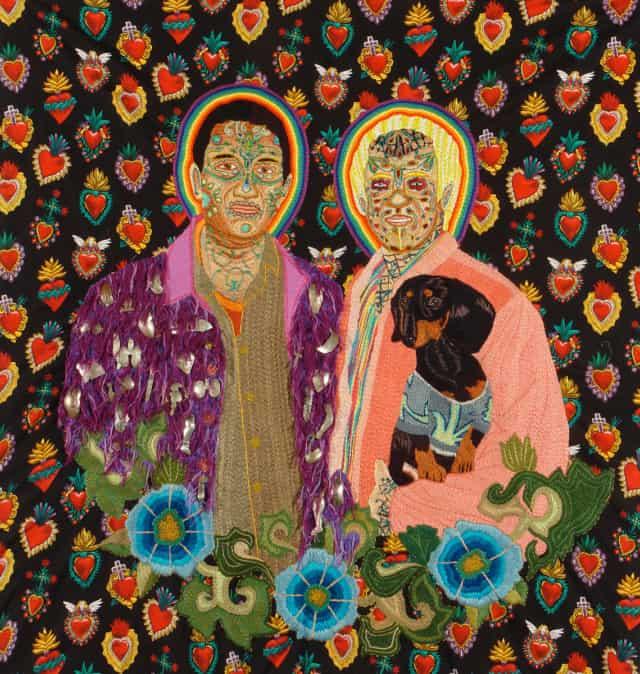 Promesas, 2011/12 Broderie à la main, fil de coton, soie et rayon sur tissu à motif, 113 x 117 cm ©CHIACHIO&GIANNONE