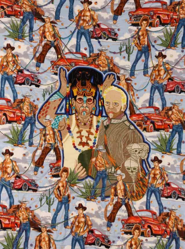 Enlazados, 2012 Broderie à la main, fil de coton, rayon et fil à broder effet lumière sur toile Alexander Henry, 104 x 138 cm ©CHIACHIO&GIANNONE