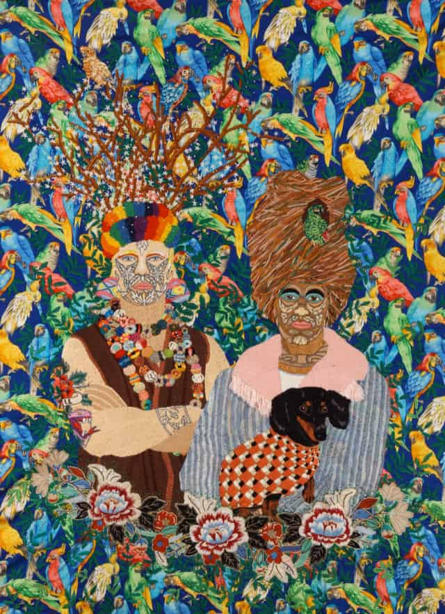 Enmaranados, 2012 Broderie à la main, rayon, laine et fil a broder effet lumière sur tissus à motifs  108 x 142 cm ©CHIACHIO&GIANNONE