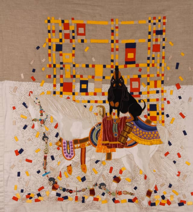Piolin Boogie Woogie, 2012 Broderie à la main sur toile de lin Hermès 138 x 145 cm ©CHIACHIO&GIANNONE