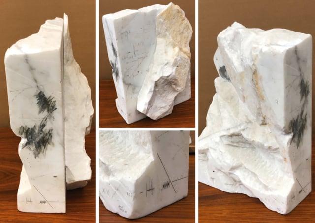 Accumulateur, 1987/88 Rotring et dessin sur marbre statuaire, 39,5 x 18 x 27,5 cm, MO-19012 ©Marie Orensanz
