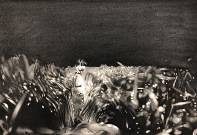 Ennemis, 2018 Dessin à la pierre noire sur papier 59 x 42,5 cm, RT948 ©Raphaël Tachdjian