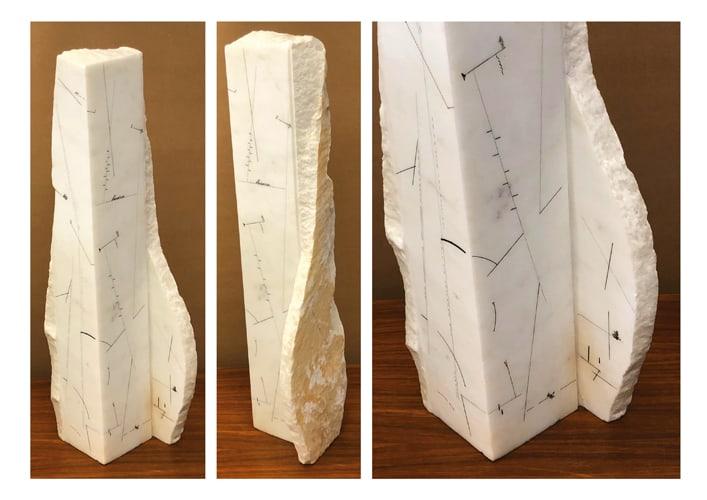 Co-lumna, 1991 Dessin sur marbre statuaire, 61 x 18 x 14 cm, MO-19016 ©Marie Orensanz