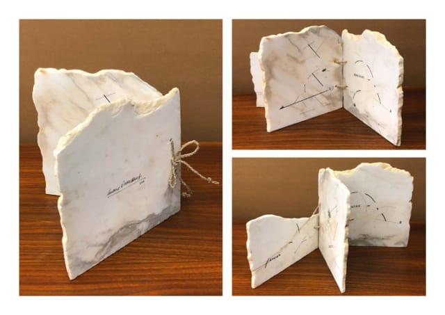 Energie Nature, 2015  Livre en marbre, 3 pages, dessins au rotring et transferts, 24 x 24 x 3,5 cm, MO-19008 ©Marie Orensanz
