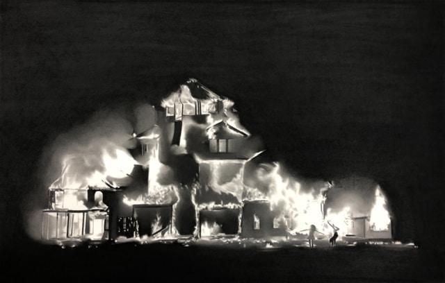 Elle écoute la ville tomber I, 2019 Dessin à la pierre noire sur papier 98 x 66 cm, RT951 ©Raphaël Tachdjian (collection privée)