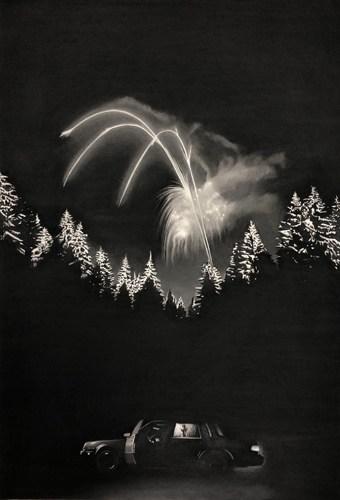 Voiture feu d'artifice, 2019 Dessin à la pierre noire sur papier 98 x 66 cm, RT963 ©Raphaël Tachdjian