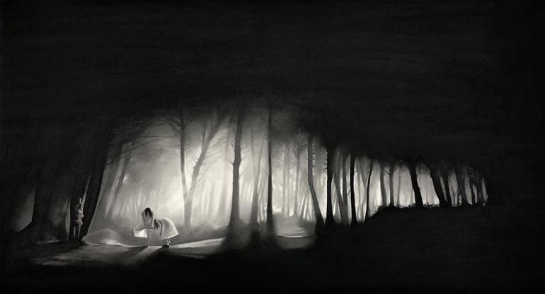 Forêt, 2019 Dessin à la pierre noire sur papier 102,5 x 60,5 cm, RT954 ©Raphaël Tachdjian (collection privée)