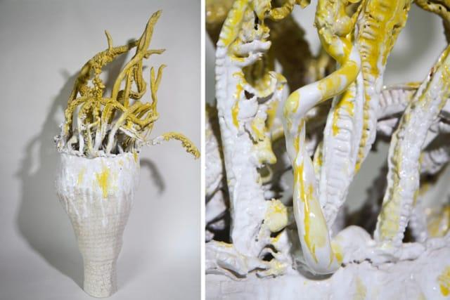 Grand vase droit jaune, 2020 Céramique 92 x 50 x 23 cm, BC-2005B ©BACHELOT&CARON (collection privée)