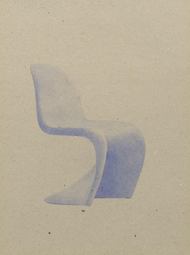 Panton Chair (1960), Verner Panton, 2015 Stylo à bille sur carton 40 x 30 cm, KO-1602 ©KONRAD