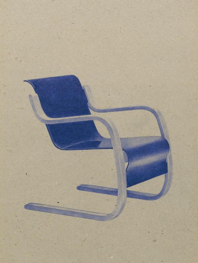 Fauteuil 42 (1932), Alvar Aalto, 2016 Stylo à bille sur carton 40 x 30 cm, KO-1608 ©KONRAD