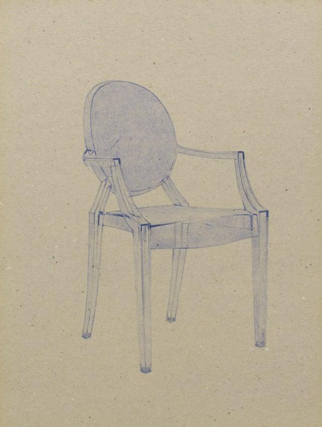 Louis Ghost (2002),  Philippe Starck, 2015 Stylo à bille sur carton 40 x 30 cm, KO-1603 ©KONRAD