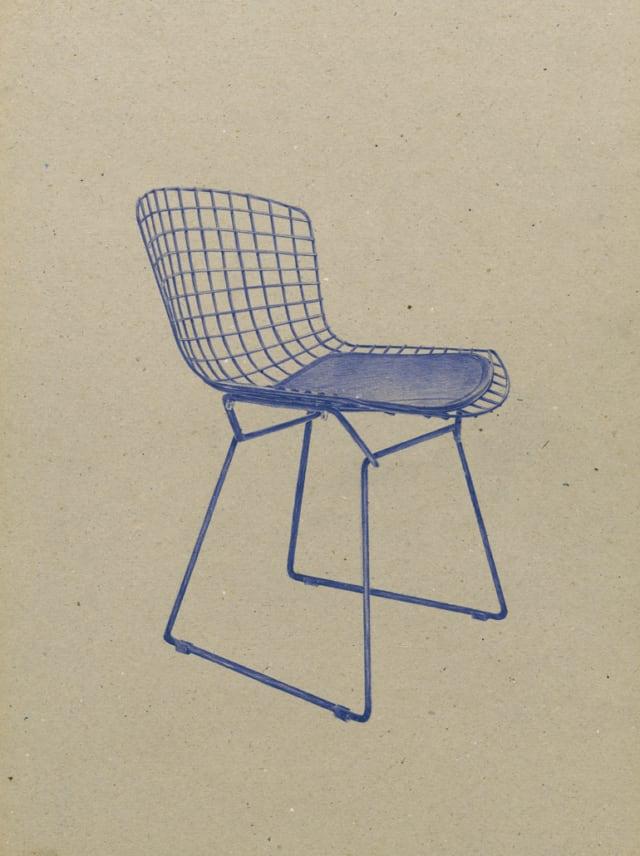 Chaise Wire (1952), Harry Bertoia, 2016 Stylo à bille sur carton 40 x 30 cm, KO-1607 ©KONRAD