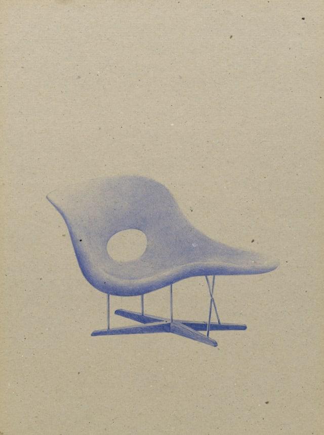 Chaise 1948 Charles & Ray Eames, 2015 Stylo à bille sur carton 40 x 30 cm, KO-1604 ©KONRAD