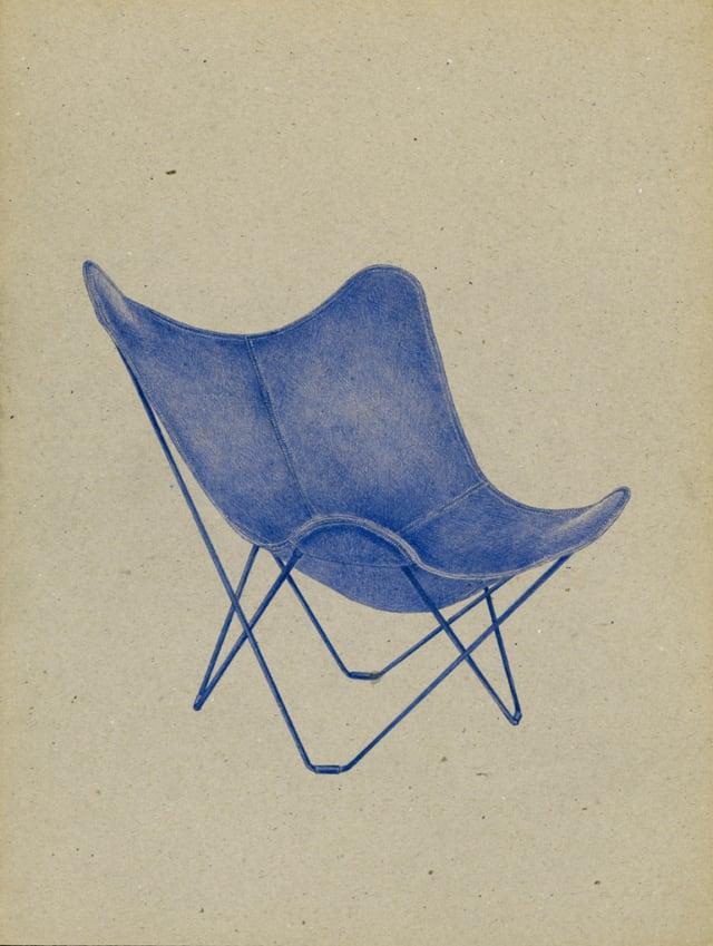Butterfly Chair (1938) Bonet/Kurchan/Ferrari, 2016 Stylo à bille sur carton 40 x 30 cm, KO-1630 ©KONRAD