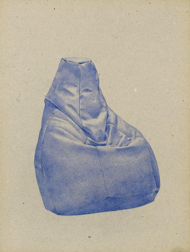 Fauteuil Sacco, 1968 Teodoro/Gatti/Paolini, 2016 Stylo à bille sur carton 40 x 30 cm, KO-1612 ©KONRAD