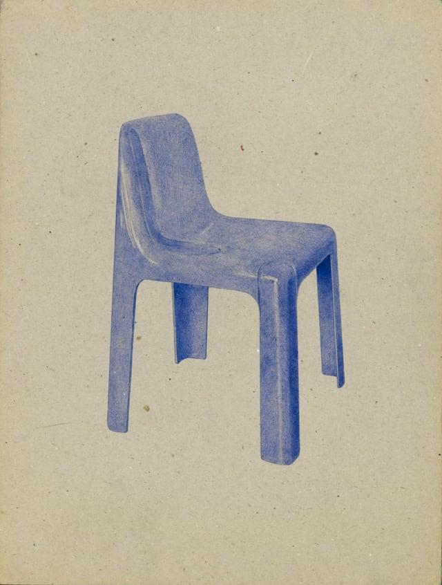 Chaise Ozoo, 1937 Marc Berthier, 2016 Stylo à bille sur carton 40 x 30 cm, KO-1631 ©KONRAD
