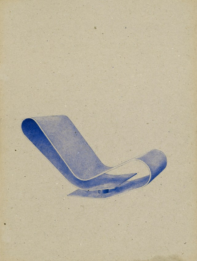 LC95A Low Chair Marteen Van Severen, 1993, 2016 Stylo à bille sur carton 40 x 30 cm, KO-1640 ©KONRAD