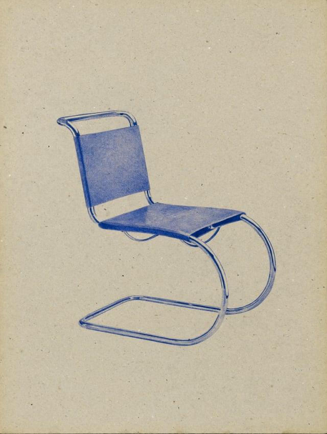 Chaise (modèle n°MR533) 1926 Mies Van der Rohe, 2016 Stylo à bille sur carton 40 x 30 cm, KO-1614, ©KONRAD