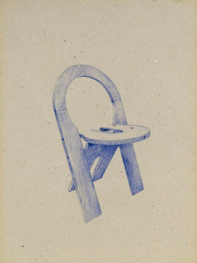 Chaise pliante réversible, 1978 Roger Talon, 2016 Stylo à bille sur carton 40 x 30 cm, KO-1639 ©KONRAD