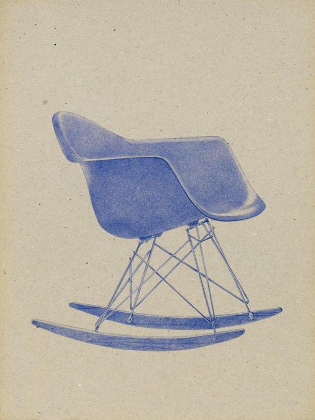 Plastic Armchair RAR, 1950 Charles & Ray Eames, 2016 Stylo à bille sur carton 40 x 30 cm, KO-1638 ©KONRAD