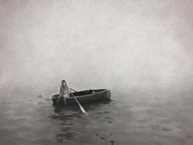 Elles goûteront aux îles et à la mer, 2018 Dessin à la pierre noire sur papier 75 x 60,5 cm, RT955 ©Raphaël Tachdjian (collection privée)